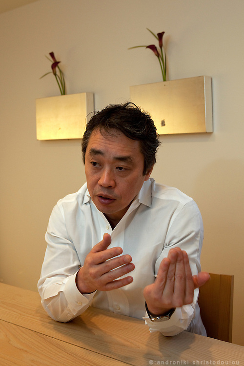 Hiroyuki Kanda during his interview at the Kanda restaurant in Tokyo, while explaining about what distinguishes good from bad sushi and about the Sushi Academy that he is going to open in London.