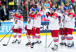 Jaromir Jagr of Czech Republic, Roman Cervenka of Czech Republic, Michal Jordan of Czech Republic, Jan Kovar of Czech Republic look dejected after the Ice Hockey match between USA and Czech Republic at Third place game of 2015 IIHF World Championship, on May 17, 2015 in O2 Arena, Prague, Czech Republic. Photo by Vid Ponikvar / Sportida