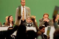 13 MAY 1999 - BIELEFELD, GERMANY:<br /> Kerstin Müller, Fraktionsvorsitzende B90/Grüne, Joschka Fuscher, Bundesaußenminister (mit Personenschützer), und Jürgen Trittin, Bundesumweltminister, während einer Abstimmung, a.o. Bundesdelegiertenkonferenz von Bündnis 90/Die Grünen, Stadthalle<br /> Kerstin Mueller, Chairwomen of the green parlaimentrary Group, Joschka Fischer (and a bodyguard behind him), Federal Minister of Foreign Affairs, and Juergen Trittin, Federal Minister of Environment, during a voting, party congress of the german green party<br /> IMAGE: 19990513-01/05-04<br /> KEYWORDS: Parteitag