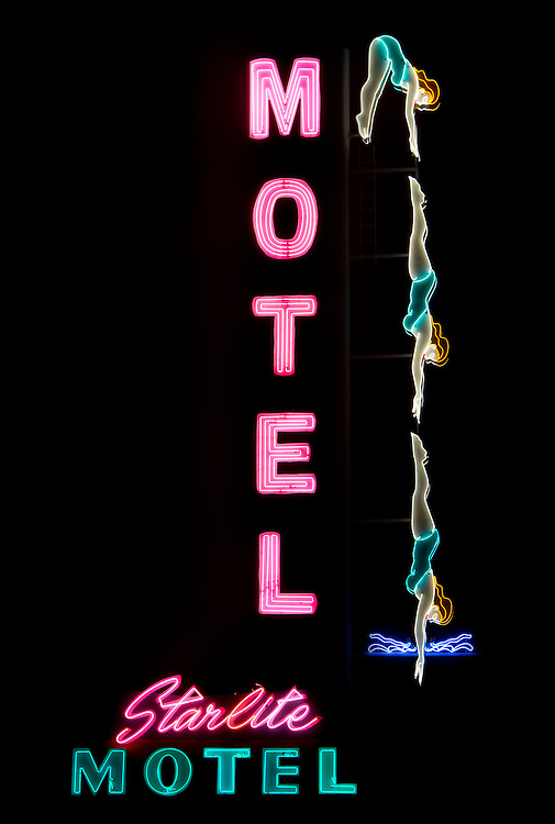 "The Starlite Motel's much beloved ""Diving Lady"" is back in action after being destroyed in a 2010 windstorm.  One of the few remaining animated neon signs in the nation, others done in by neglect, changing times, and unfavorable city ordinances, the ""Diving Lady"" could have gone the way of others if not for a remarkable donation campaign and a farsighted city council ruling to grandfather the animation."