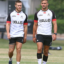 DURBAN, SOUTH AFRICA - JANUARY 23: Cameron Wright with Jeremy Ward during the Cell C Sharks training session at Growthpoint Kings Park on January 23, 2018 in Durban, South Africa. (Photo by Steve Haag/Gallo Images)