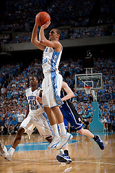 CHAPEL HILL, NC - MARCH 05: Kendall Marshall #5 of the North Carolina Tar Heels shoots the ball while playing the Duke Blue Devils on March 05, 2011 at the Dean E. Smith Center in Chapel Hill, North Carolina. North Carolina won 67-81. (Photo by Peyton Williams/UNC/Getty Images) *** Local Caption *** Kendall Marshall