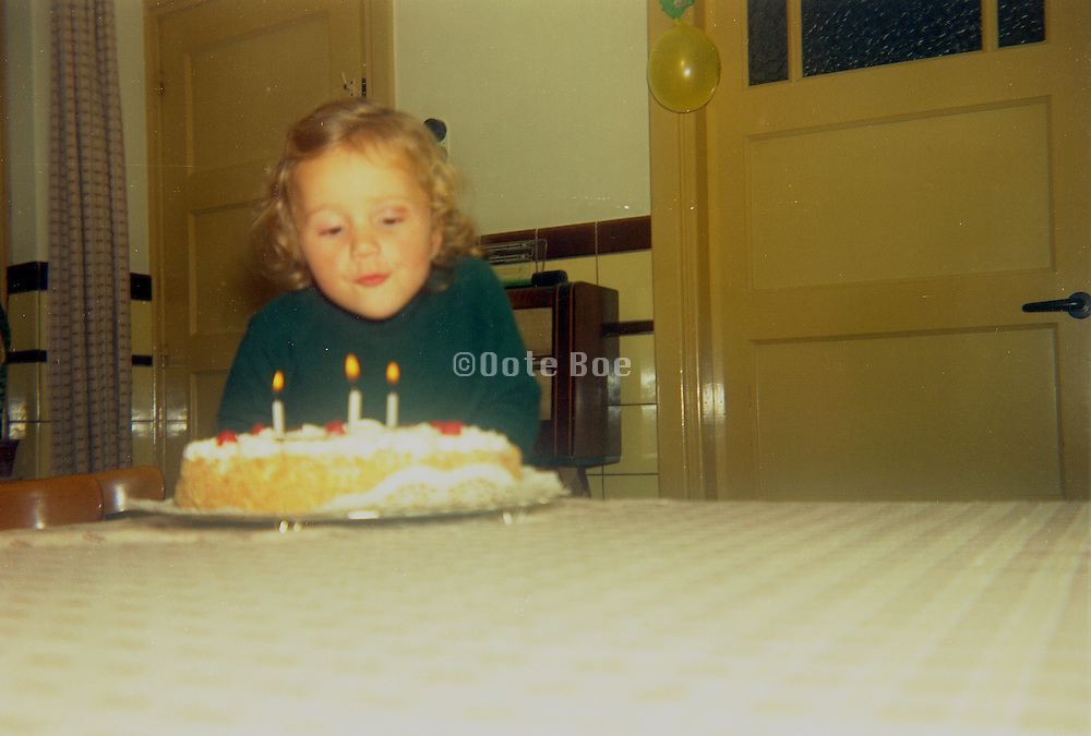 A little girl blowing out the candles on her birthday cake.