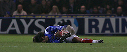 Portsmouth, England - Saturday, February 10, 2007: Portsmouth's Pedro Mendes is carried off after a tackle by Manchester City's Joey Barton during the Premiership match at Fratton Park. (Pic by Chris Ratcliffe/Propaganda)