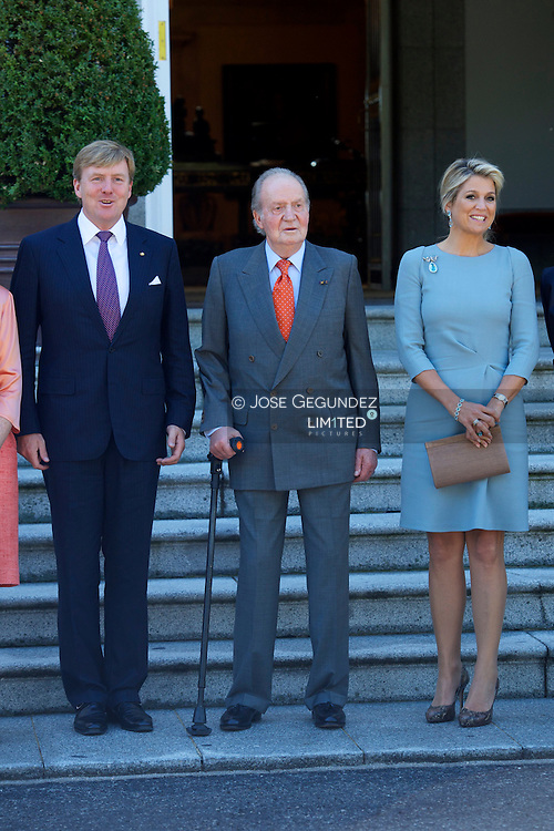 King Juan Carlos of Spain, Queen Sofia of Spain, Prince Felipe of Spain, Princess Letizia of Spain, Princess Elena of Spain meet King Willem-Alexander and Queen Maxima at Zarzuela Palace during their visit to Spain on September 18, 2013 in Madrid