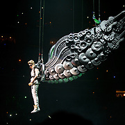 WASHINGTON, D.C. - November 5th, 2012 - Teen recording sensation Justin Bieber begins his concert at the Verizon Center in Washington, D.C. by entering on a giant pair of prop wings. (Photo by Kyle Gustafson/ For The Washington Post)