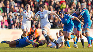 Justine Lucas in action, England Women v Italy Women in Women's 6 Nations Match at Twickenham Stoop, Twickenham, England, on 15th February 2015. Final score 39-7.