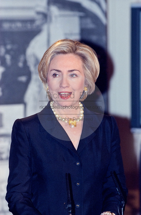 First lady Hillary Clinton speaks at the Millennium evening lecture on 'Women as Citizens' in the East Room of the White House March 15, 1999. The Clinton's appeared together for the first time since rumors of marital separation.