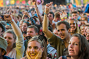 Belle and Sebastian play the Obelisk Arena as the sun begins to set on the first main day - The 2018 Latitude Festival, Henham Park. Suffolk 13 July 2018
