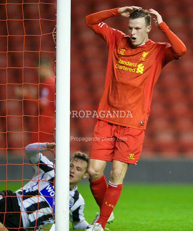LIVERPOOL, ENGLAND - Friday, March 21, 2014: Liverpool's Brad Smith looks dejected after missing a chance against Newcastle United during the Under 21 FA Premier League match at Anfield. (Pic by David Rawcliffe/Propaganda)