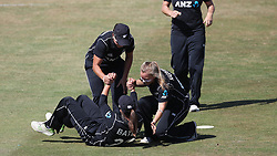 New Zealand's Suzie Bates is congratulated by team mates after taking the catch to dismiss England's Natalie Sciver during the Second One Day International Women's match at the 3aaa County Ground, Derby.