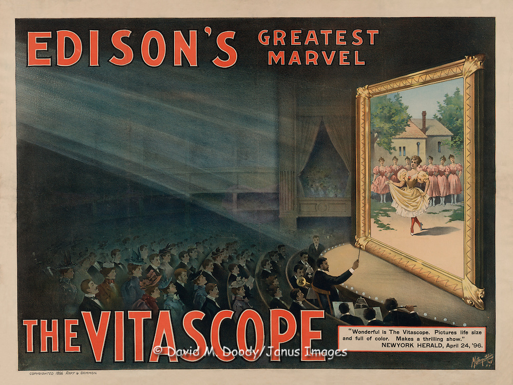 Vintage Illustration:  Edison's greatest marvel--The Vitascope. poster: lithograph New York: Metropolitan Print Company, c1896.