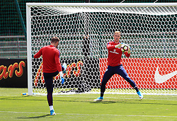 England's Jack Butland and Joe Hart (right) during the training session at Stade Omnisport.
