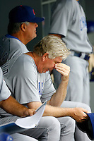 22 August 2009: Pitching Coach Lawrence lee Rothschild wipes his eyes during the MLB National League Chicago Cubs 2-0 loss to the Los Angeles Dodgers at Chavez Ravine.