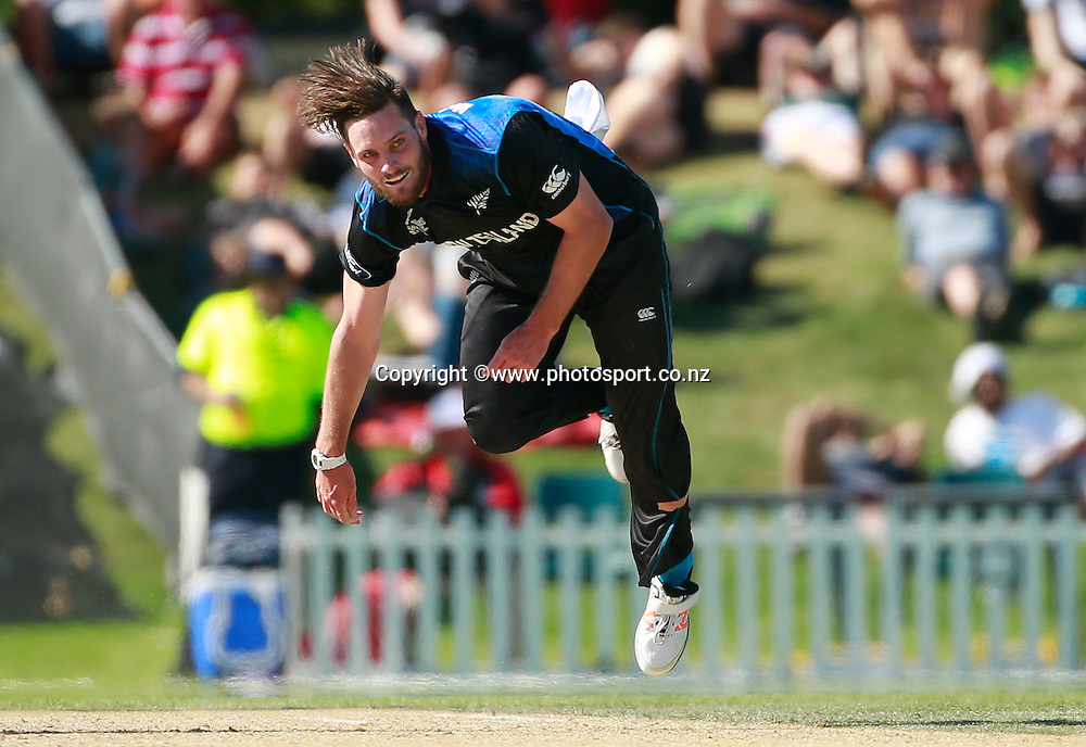 Mitchell McClenaghan of New Zealand bowling during the ICC Cricket World Cup warm up game between New Zealand v South Africa at Hagley Oval, Christchurch. 11 February 2015 Photo: Joseph Johnson / www.photosport.co.nz