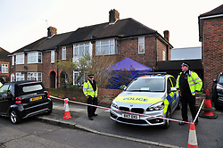 &copy; Licensed to London News Pictures.06/04/2018<br /> HITHER GREEN, UK.<br /> DAY 3 Hither Green Burglary Murder. South Park Crescent,Hither Green.<br /> Police outside the home of 78 year old Richard Osborn-Brooks who has been bailed for stabbing a burglar to death in his home.<br /> Photo credit: Grant Falvey/LNP