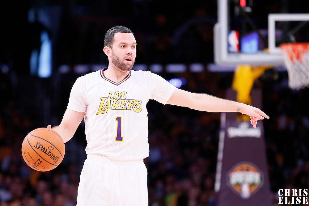 09 March 2014: Los Angeles Lakers point guard Jordan Farmar (1) sets the offense during the Los Angeles Lakers 114-110 victory over the Oklahoma City Thunder at the Staples Center, Los Angeles, California, USA.