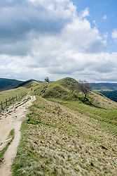 The Great Ridge walking from Mam Tor towards Back Tor and Losehill near Castleton in the Hope Valley <br />