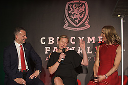 CARDIFF, WALES - Thursday, March 21, 2019: Wales' men's national team manager Ryan Giggs and women's national team manager Jayne Ludlow with host Gabby Logan during the Football Association of Wales Awards 2019 at the Hensol Castle. (Pic by David Rawcliffe/Propaganda)