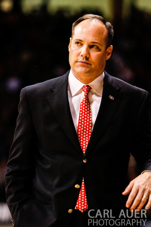 December 28th, 2013:  Georgia Bulldogs head coach Mark Fox during the first half of the NCAA Basketball game between the Georgia Bulldogs and the University of Colorado Buffaloes at the Coors Events Center in Boulder, Colorado