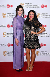 Aisling Bea and Scarlett Moffatt in the press room at the Virgin TV British Academy Television Awards 2017 held at Festival Hall at Southbank Centre, London. PRESS ASSOCIATION Photo. Picture date: Sunday May 14, 2017. See PA story SHOWBIZ Bafta. Photo credit should read: Ian West/PA Wire