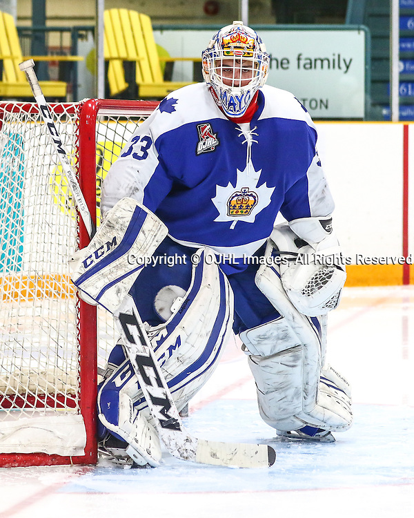 Trenton, ON - JAN 23,  2017: Ontario Junior Hockey League game between Markham and Trenton at the 2017 Winter Showcase, Marcus Semiao #33 of the Markham Royals protects the crease during the third period.<br /> (Photo by Hark Nijjar/ OJHL Images)