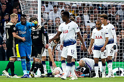 Jan Vertonghen of Tottenham Hotspur lies on the floor covered in blood - Mandatory by-line: Robbie Stephenson/JMP - 30/04/2019 - FOOTBALL - Tottenham Hotspur Stadium - London, England - Tottenham Hotspur v Ajax - UEFA Champions League Semi-Final 1st Leg