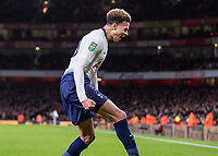 Football - 2018 / 2019 EFL Carabao Cup (League Cup) - Quarter-Final: Arsenal vs. Tottenham Hotspur<br /> <br /> Dele Alli (Tottenham FC)  screams with delight in front of the Tottenham supporters after scoring his teams second goal at The Emirates.<br /> <br /> COLORSPORT/DANIEL BEARHAM