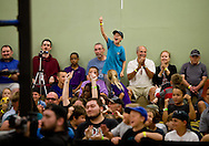 "Fans cheer after Lince Dorado (Jose Cordero) wins a close match against Chasyn Rance during Championship Wrestling Entertainment's ""Wrestlefest"" at the Port St. Lucie Civic Center on Friday, April 10, 2015. (XAVIER MASCAREÑAS/TREASURE COAST NEWSPAPERS)"
