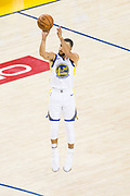 Golden State Warriors guard Stephen Curry (30) shoots a three pointer against the Cleveland Cavaliers during Game 1 of the NBA Finals at Oracle Arena in Oakland, Calif., on May 31, 2018. (Stan Olszewski/Special to S.F. Examiner)