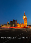 Twilight at Westminster Bridge, Big Ben and the Houses of Parliament in London, England.