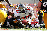 TAMPA, FL - SEPTEMBER 26: Running Back LeGarrette Blount #27 of the Tampa Bay Buccaneers during the game against the Pittsburgh Steelers at Raymond James Stadium on September 26, 2010 in Tampa, Florida. The Buccaneers lost 38-13. (photo by Mike Carlson/Tampa Bay Buccaneers)
