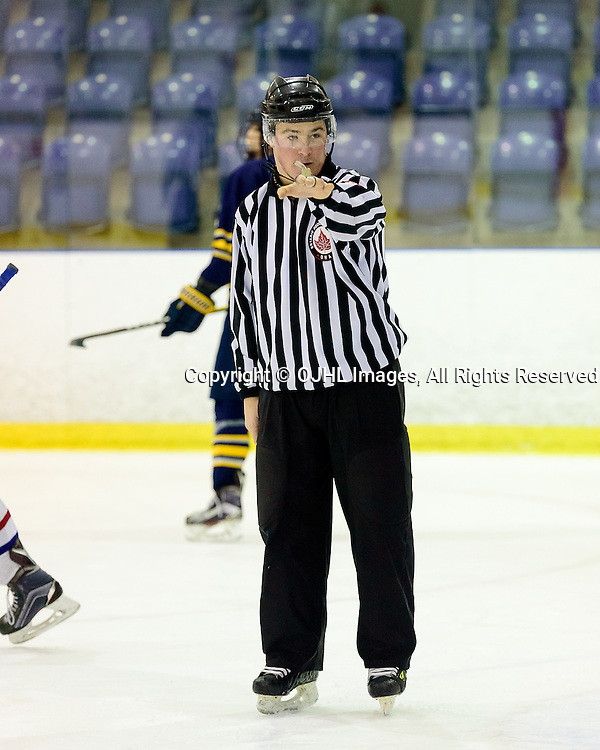 KINGSTON, ON - FEB 16,  2017: Ontario Junior Hockey League game between Buffalo Junior Sabres and Kingston Voyageurs, OHA Linesman John Lynch during the second period.<br /> (Photo by Ian Dixon/ OJHL Images)