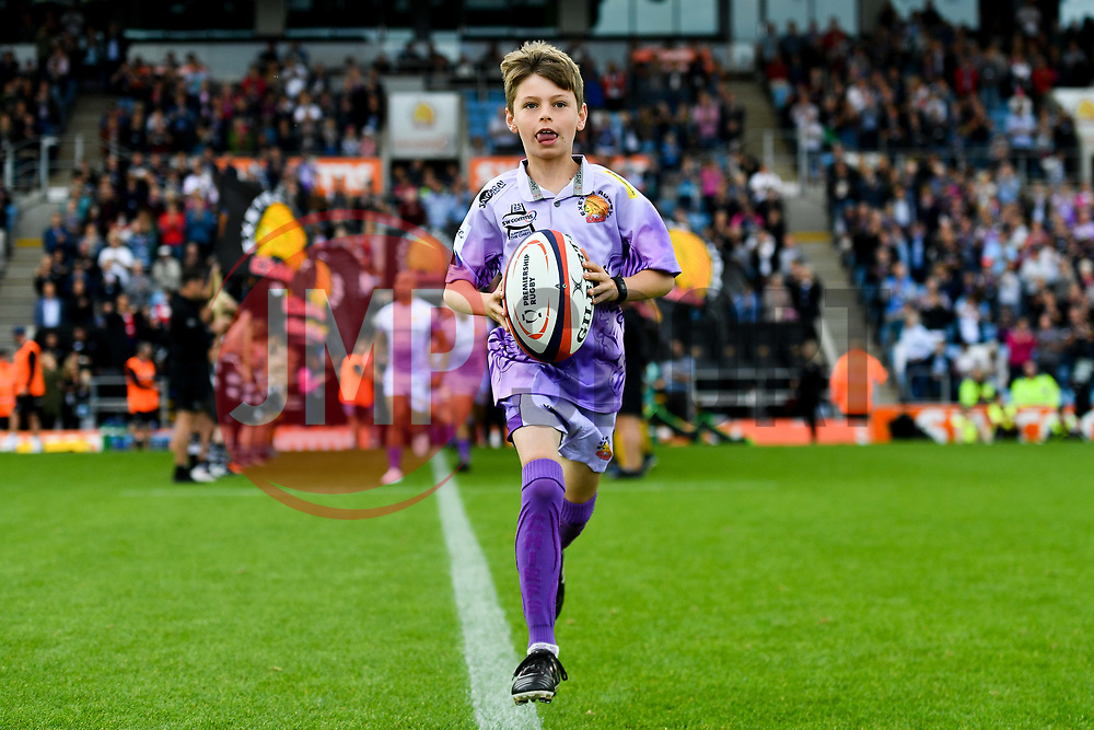 Match mascot prior to kick off - Mandatory by-line: Ryan Hiscott/JMP - 21/09/2019 - RUGBY - Sandy Park - Exeter, England - Exeter Chiefs v Bath Rugby - Premiership Rugby Cup