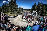 Team USA during the Women Elite Cross Country Olympics event at the 2018 UCI MTB World Championships - Lenzerheide, Switzerland