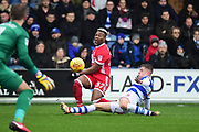 QPR defender Jake Bidwell (3) slides in to tackle Middlesbrough striker Adama Traore (37) during the EFL Sky Bet Championship match between Queens Park Rangers and Middlesbrough at the Loftus Road Stadium, London, England on 20 January 2018. Photo by Dennis Goodwin.