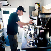 030113       Brian Leddy<br /> Dave Rodriguez, owner of Blunt Bros Coffee, prepares a shot of espresso Friday. In addition to making the best cup cup of coffee in town, the business has been roasting their own coffee beans as well.