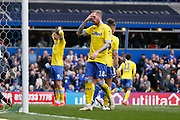 Leeds United forward Patrick Bamford (9) and Leeds United defender Pontus Jansson (18) rue a missed chance during the EFL Sky Bet Championship match between Birmingham City and Leeds United at St Andrews, Birmingham, England on 6 April 2019.