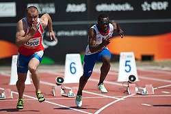 LABZIN Alexey, DAMBAKATE Bacou, RUS, FRA, 100m, T13, 2013 IPC Athletics World Championships, Lyon, France