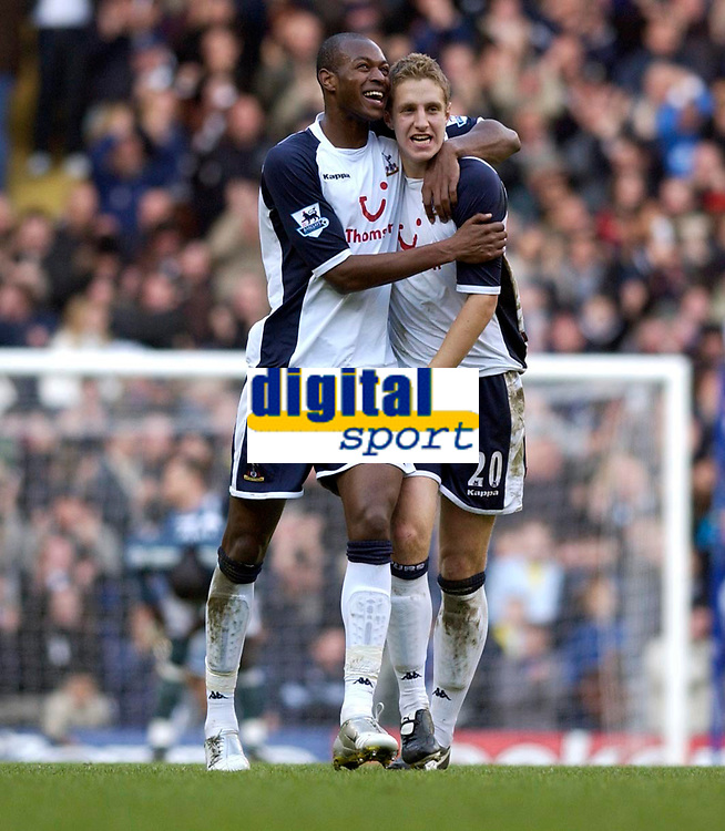 Photo: Daniel Hambury.<br />Tottenham Hotspur v Newcastle United. The Barclays Premiership. 31/12/2005.<br />Tottenham's centre back pairing of Michael Dawson (R) and Anthony Gardner celebrate victory.