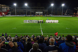 Bristol Rugby and Doncaster Knights hold a minute silence  - Mandatory byline: Dougie Allward/JMP - 07966386802 - 06/11/2015 - RUGBY - Ashton Gate -Bristol,England - Bristol Rugby v Doncaster Knights - Greene King IPA Championship