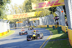 27.03.2011, Albert-Park-Circuit, Melbourne, AUS, F1 Großer Preis von Australien, Melbourne 2011, Race 01, im Bild DHL Branding - Sebastian Vettel (GER), Red Bull Racing  - Lewis Hamilton (GBR), McLaren F1 Team - Mark Webber (AUS), Red Bull Racing during Formula One Grand Prix of Australia at Albert-Park-Circuit Melbourne on 27/3/2011. EXPA Pictures © 2011, PhotoCredit: EXPA/ nph/ Dieter Mathis       ****** only for AUT & SLO ******