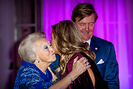 ROTTERDAM - King Willem-Alexander and Queen Maxima and princess beatrix meet the Cape Verdean president Jorge Carlos de Almeida Fonseca and his wife at the Cruis terminal for a concert. Fonseca is in the Netherlands for a two-day state visit. copyrught robin utrecht