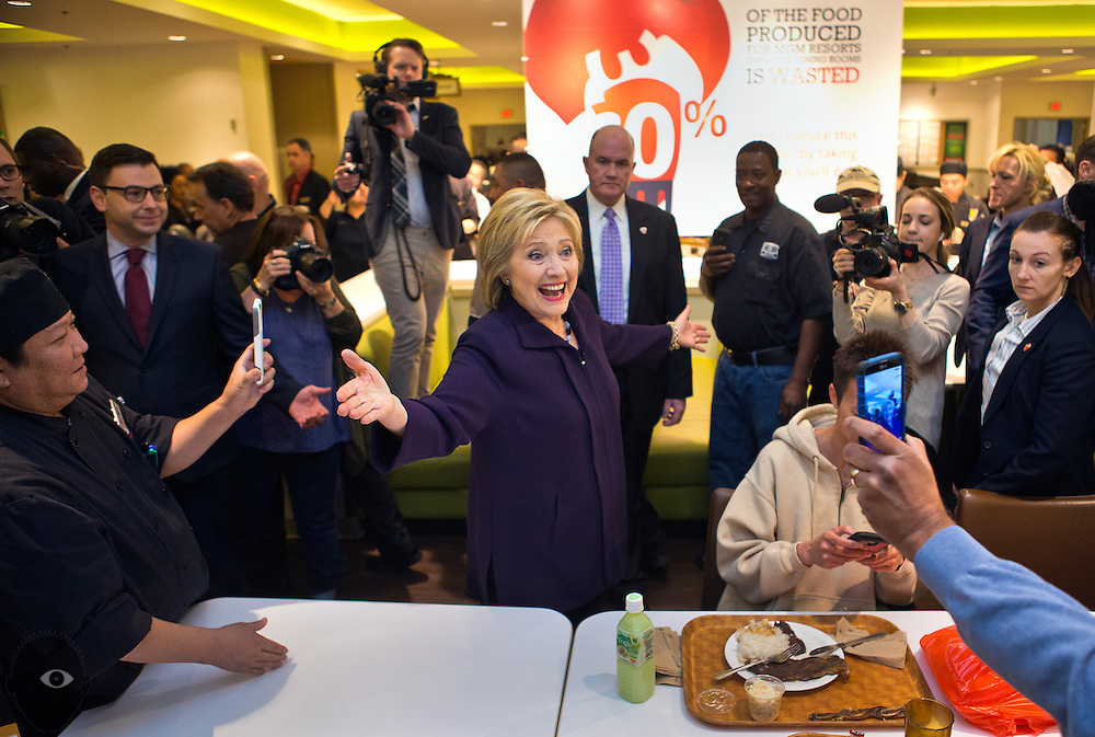 Secretary of State Hillary Clinton stumps a bit as she visits hotel and casino workers in the employee dining room at the MGM on Wednesday, February 18, 2016. L.E. Baskow