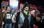 Paulie Malignaggi (front ) makes his entrance onto the ring to face Danny Garcia (not shown ) at the Barclays Center in Brooklyn, New York on Saturday August 1st, 2015