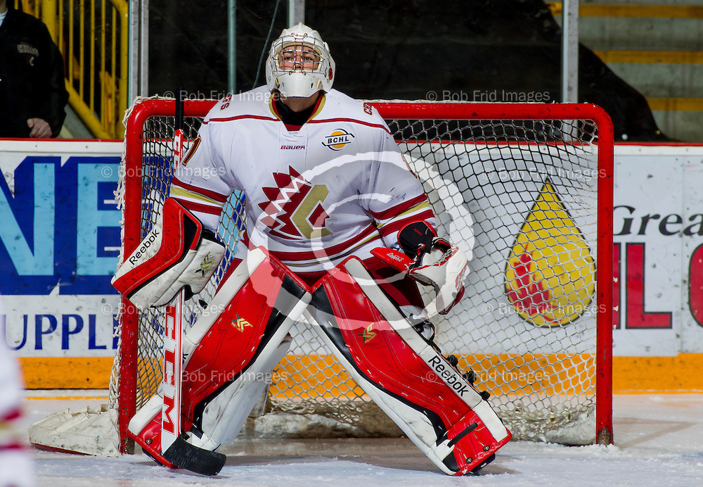 22 November 2014:  goalie David Poirier (1) of the Chiefs  during a game between the Chilliwack Chiefs and the Coquitlam Express at Prospera Centre, Chilliwack, BC.    ****(Photo by Bob Frid - All Rights Reserved 2014): mobile: 778-834-2455 : email: bob.frid@shaw.ca ****