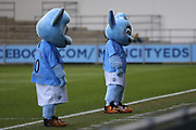 Manchester City mascots await the teams during the FA Women's Super League match between Manchester City Women and Brighton and Hove Albion Women at the Sport City Academy Stadium, Manchester, United Kingdom on 27 January 2019.