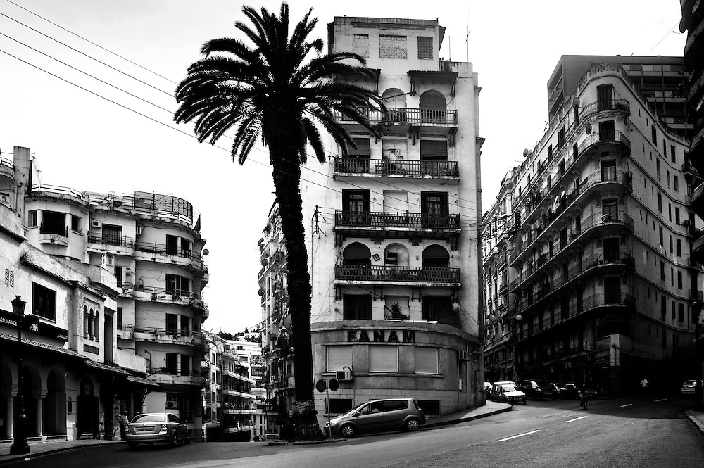 Algiers May 2012. A view of buildings in the typical French architecture between Krim Belkacem and Didouche Mourad street. Most buildings in Algiers is are built in french style, except Casbah.