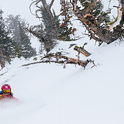 Kim Havell skis a line in the backcountry of the Tetons.
