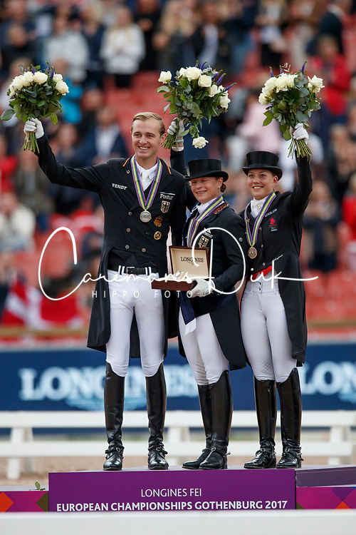 Werth Isabell, GER, Rothenberger Soneke, GER, Ducour Catherine, DEN<br /> FEI European Driessage Championships - Goteborg 2017 <br /> &copy; Hippo Foto - Dirk Caremans<br /> 26/08/2017,